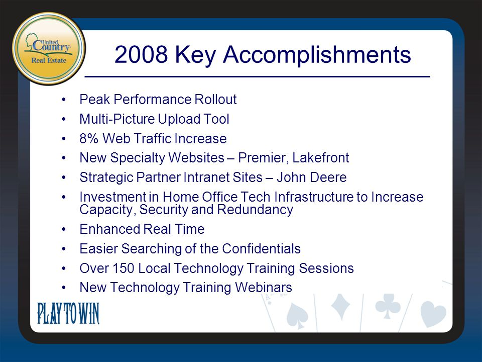 Peak Performance Rollout Multi-Picture Upload Tool 8% Web Traffic Increase New Specialty Websites – Premier, Lakefront Strategic Partner Intranet Sites – John Deere Investment in Home Office Tech Infrastructure to Increase Capacity, Security and Redundancy Enhanced Real Time Easier Searching of the Confidentials Over 150 Local Technology Training Sessions New Technology Training Webinars 2008 Key Accomplishments