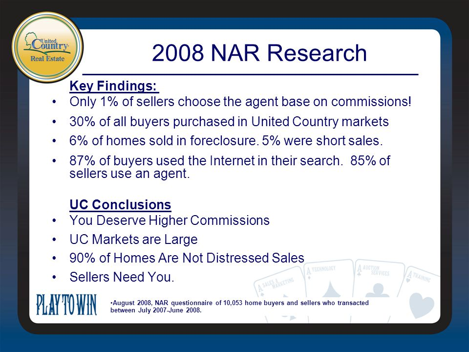 Key Findings: Only 1% of sellers choose the agent base on commissions.
