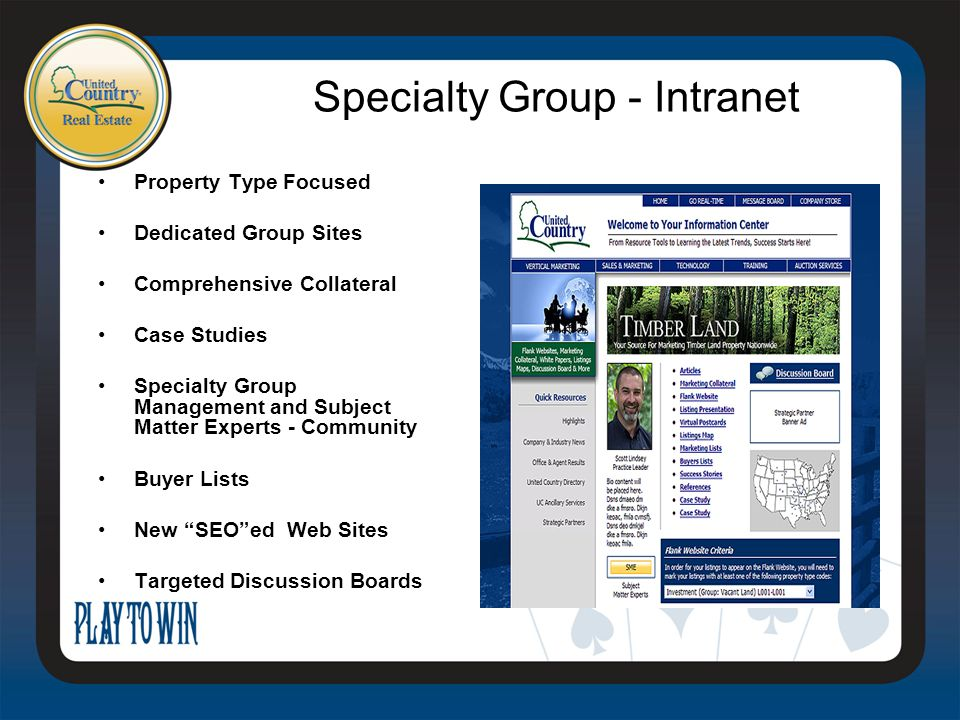 Property Type Focused Dedicated Group Sites Comprehensive Collateral Case Studies Specialty Group Management and Subject Matter Experts - Community Buyer Lists New SEO ed Web Sites Targeted Discussion Boards Specialty Group - Intranet
