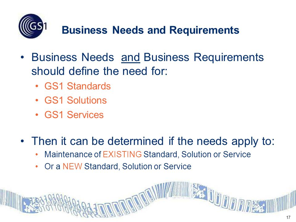 17 Business Needs and Requirements Business Needs and Business Requirements should define the need for: GS1 Standards GS1 Solutions GS1 Services Then it can be determined if the needs apply to: Maintenance of EXISTING Standard, Solution or Service Or a NEW Standard, Solution or Service