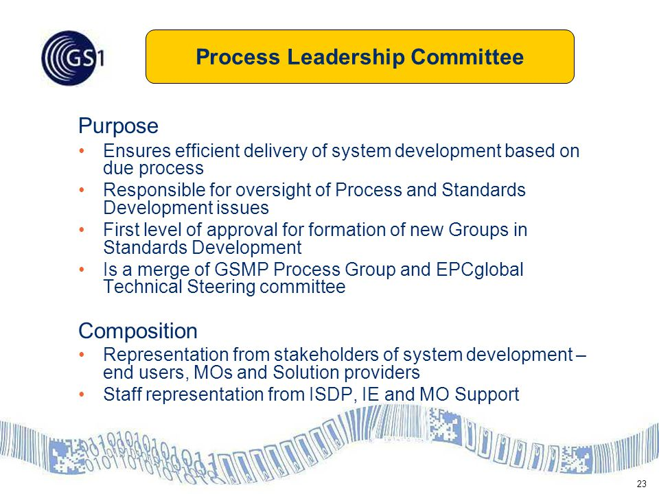 23 Purpose Ensures efficient delivery of system development based on due process Responsible for oversight of Process and Standards Development issues First level of approval for formation of new Groups in Standards Development Is a merge of GSMP Process Group and EPCglobal Technical Steering committee Composition Representation from stakeholders of system development – end users, MOs and Solution providers Staff representation from ISDP, IE and MO Support Process Leadership Committee