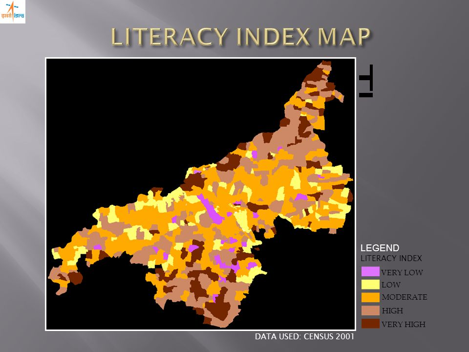 VERY HIGH LOW MODERATE VERY LOW HIGH LEGEND LITERACY INDEX DATA USED: CENSUS 2001