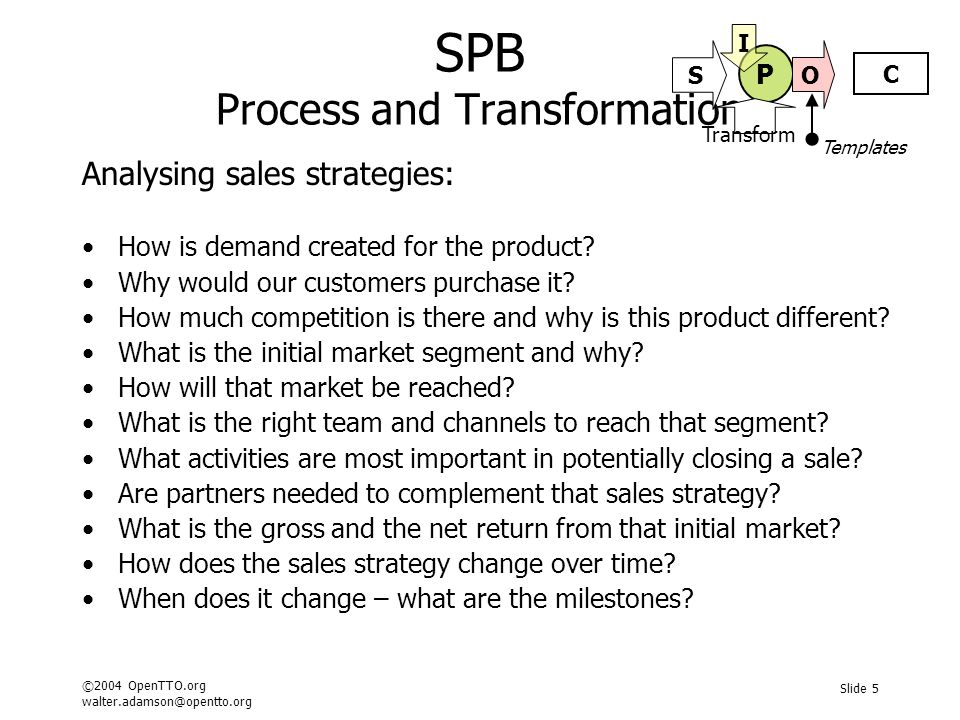 ©2004 OpenTTO.org walter.adamson@opentto.org Slide 6 SPB Process and Transformation Analysing pricing options: How have comparative inventions been priced.