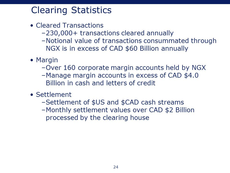 24 Clearing Statistics Cleared Transactions –230,000+ transactions cleared annually –Notional value of transactions consummated through NGX is in exce