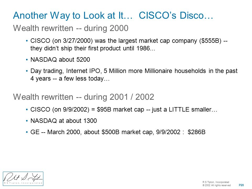 R S Tipton, Incorporated © 2002 All rights reserved P20 Another Way to Look at It… CISCO's Disco… Wealth rewritten -- during 2000 CISCO (on 3/27/2000) was the largest market cap company ($555B) -- they didn't ship their first product until 1986...