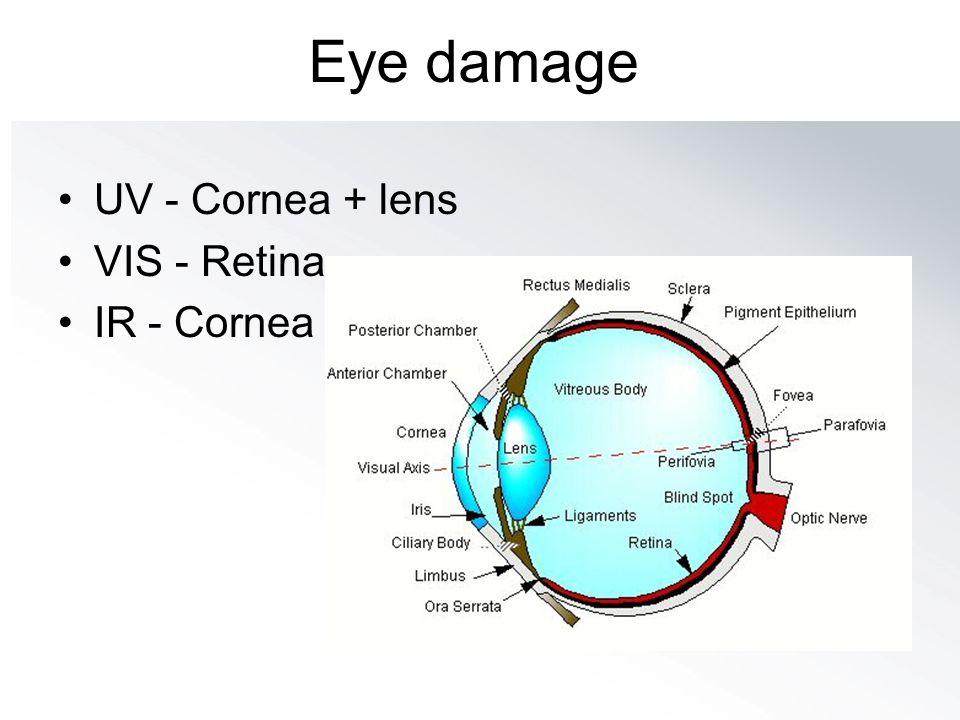 Eye damage UV - Cornea + lens VIS - Retina IR - Cornea