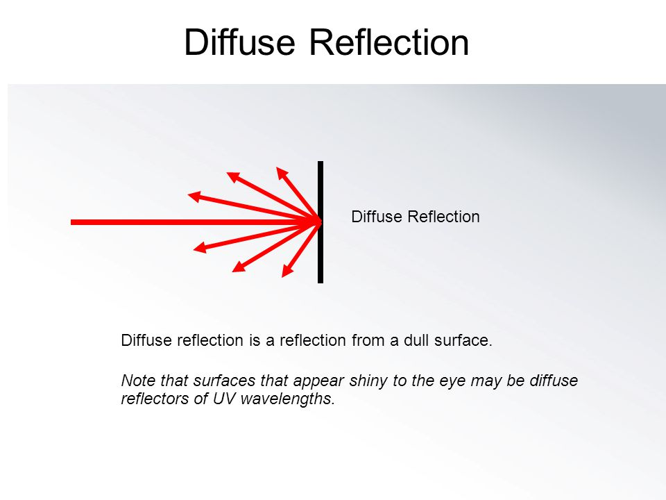 Diffuse reflection is a reflection from a dull surface. Note that surfaces that appear shiny to the eye may be diffuse reflectors of UV wavelengths. D