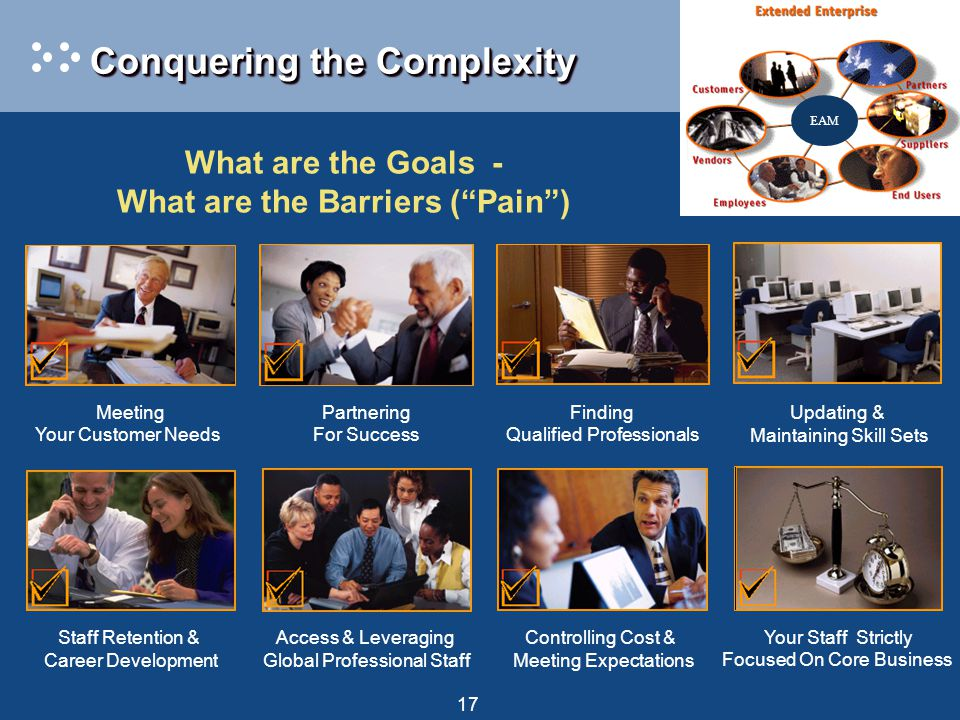 17 Conquering the Complexity Finding Qualified Professionals Updating & Maintaining Skill Sets Staff Retention & Career Development Your Staff Strictl