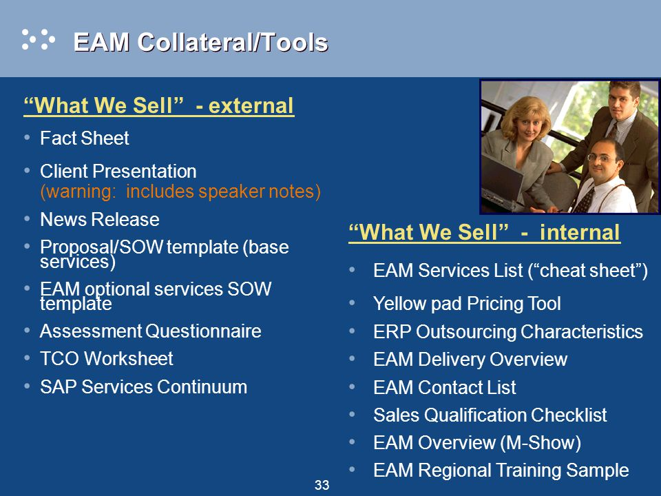 33 EAM Collateral/Tools What We Sell - external Fact Sheet Client Presentation (warning: includes speaker notes) News Release Proposal/SOW template (base services) EAM optional services SOW template Assessment Questionnaire TCO Worksheet SAP Services Continuum What We Sell - internal EAM Services List ( cheat sheet ) Yellow pad Pricing Tool ERP Outsourcing Characteristics EAM Delivery Overview EAM Contact List Sales Qualification Checklist EAM Overview (M-Show) EAM Regional Training Sample