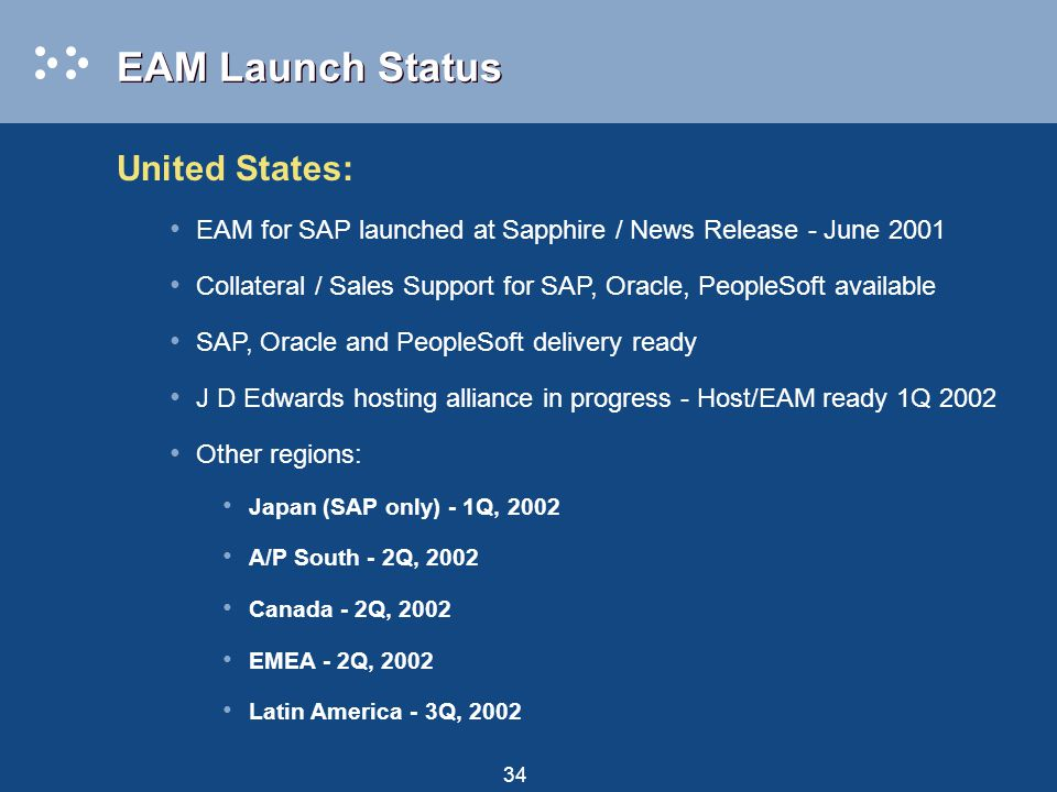 34 EAM Launch Status United States: EAM for SAP launched at Sapphire / News Release - June 2001 Collateral / Sales Support for SAP, Oracle, PeopleSoft available SAP, Oracle and PeopleSoft delivery ready J D Edwards hosting alliance in progress - Host/EAM ready 1Q 2002 Other regions: Japan (SAP only) - 1Q, 2002 A/P South - 2Q, 2002 Canada - 2Q, 2002 EMEA - 2Q, 2002 Latin America - 3Q, 2002
