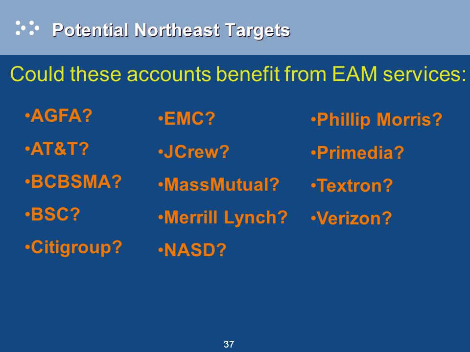 37 Potential Northeast Targets Could these accounts benefit from EAM services: EMC.
