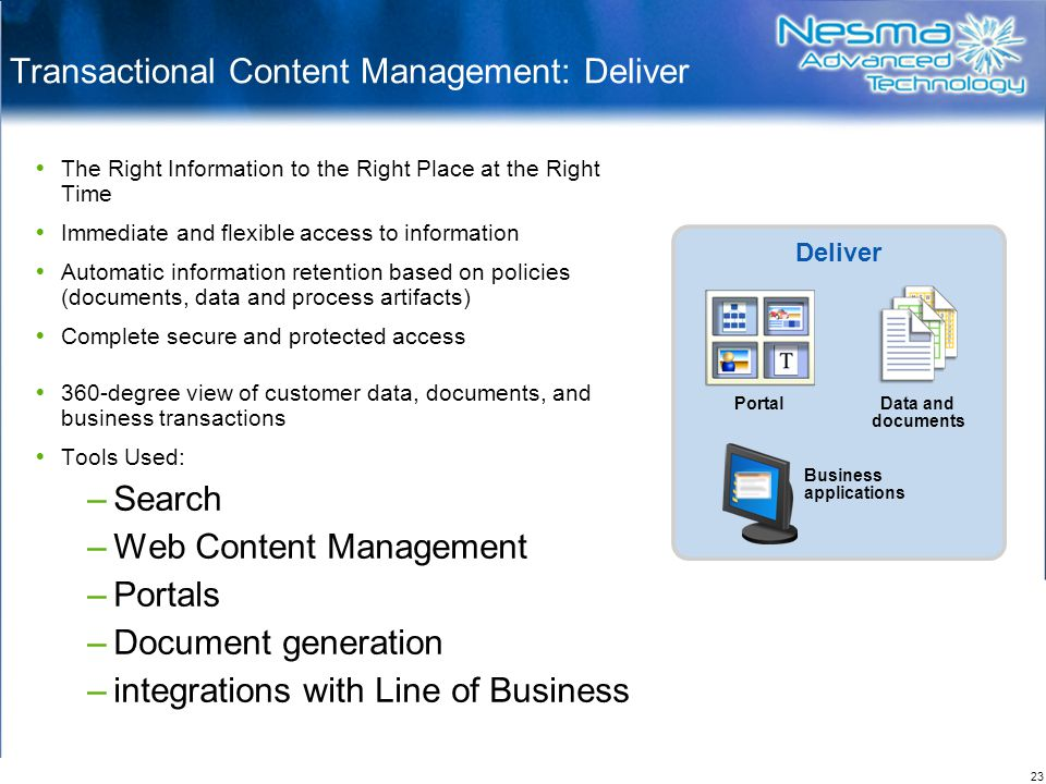 23 Transactional Content Management: Deliver  The Right Information to the Right Place at the Right Time  Immediate and flexible access to information  Automatic information retention based on policies (documents, data and process artifacts)  Complete secure and protected access  360-degree view of customer data, documents, and business transactions  Tools Used: –Search –Web Content Management –Portals –Document generation –integrations with Line of Business Deliver Data and documents Business applications Portal