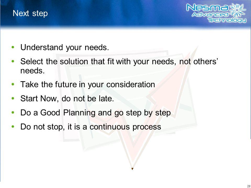 28 Next step  Understand your needs.