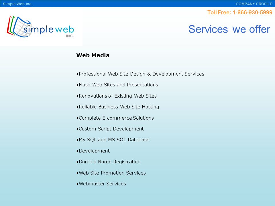 Toll Free: Simple Web Inc.