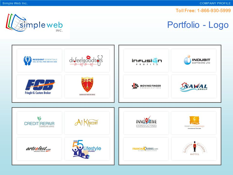 Toll Free: Simple Web Inc. COMPANY PROFILE Portfolio - Logo