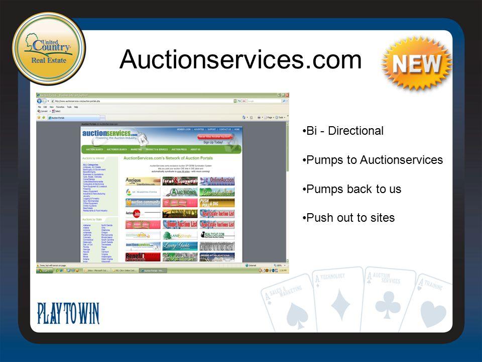Auctionservices.com Bi - Directional Pumps to Auctionservices Pumps back to us Push out to sites