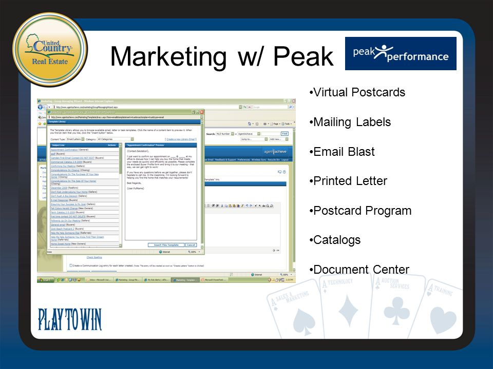 Marketing w/ Peak Virtual Postcards Mailing Labels Email Blast Printed Letter Postcard Program Catalogs Document Center