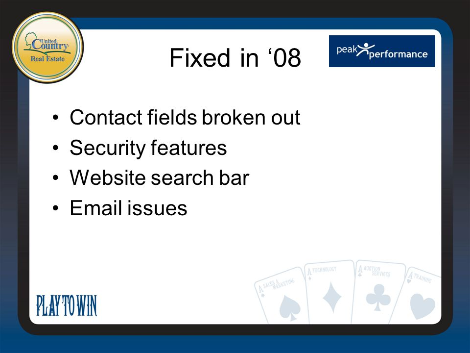 Fixed in '08 Contact fields broken out Security features Website search bar Email issues