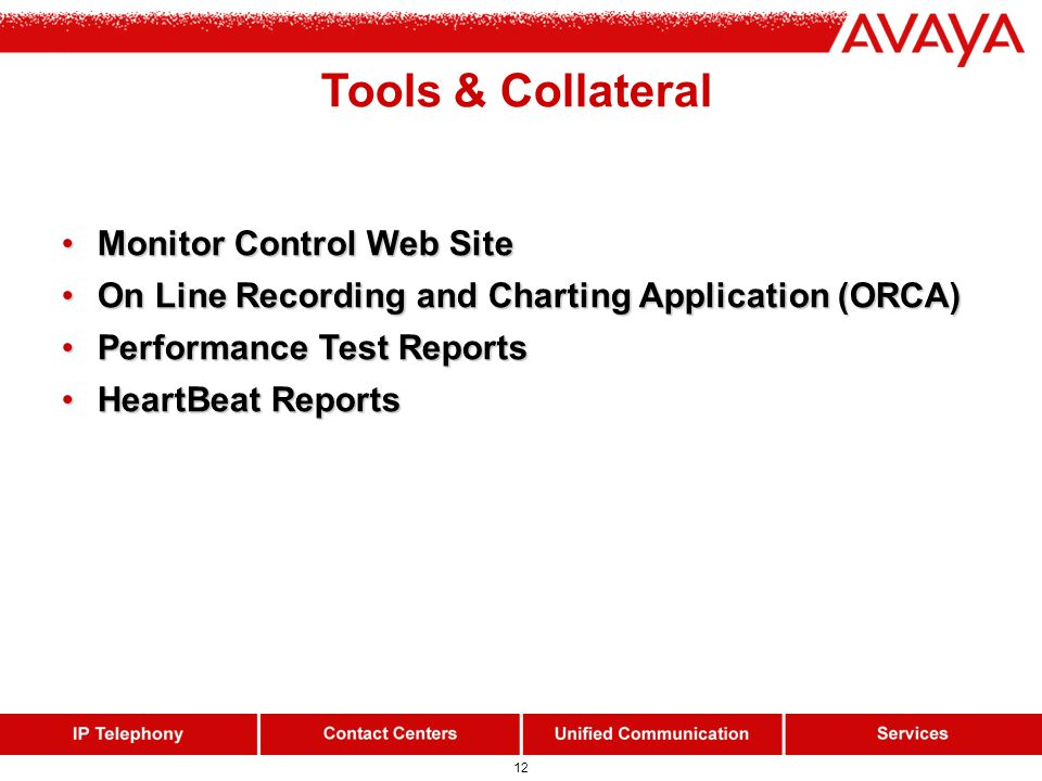 12 Tools & Collateral Monitor Control Web Site Monitor Control Web Site On Line Recording and Charting Application (ORCA) On Line Recording and Charti