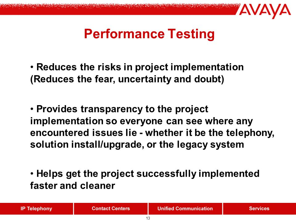 13 Performance Testing Helps get the project successfully implemented faster and cleaner Reduces the risks in project implementation (Reduces the fear