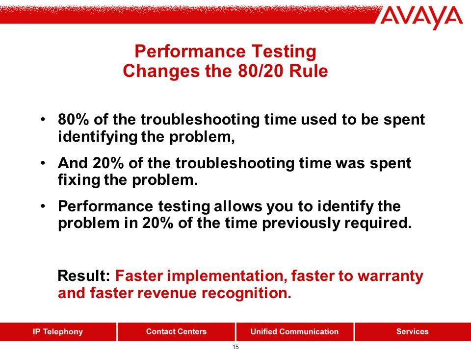 15 80% of the troubleshooting time used to be spent identifying the problem, And 20% of the troubleshooting time was spent fixing the problem. Perform