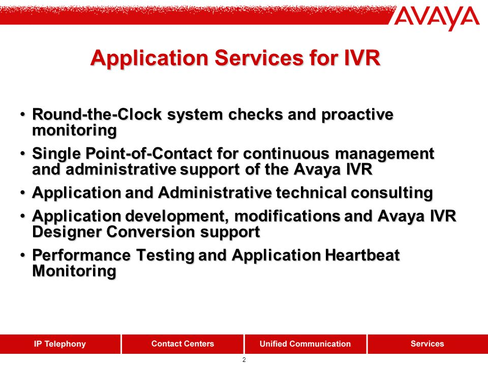 2 Application Services for IVR Application Services for IVR Round-the-Clock system checks and proactive monitoringRound-the-Clock system checks and pr