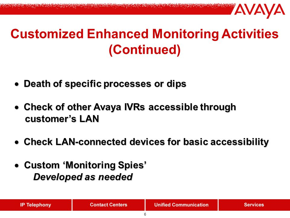6 Customized Enhanced Monitoring Activities (Continued)  Death of specific processes or dips  Death of specific processes or dips  Check of other A