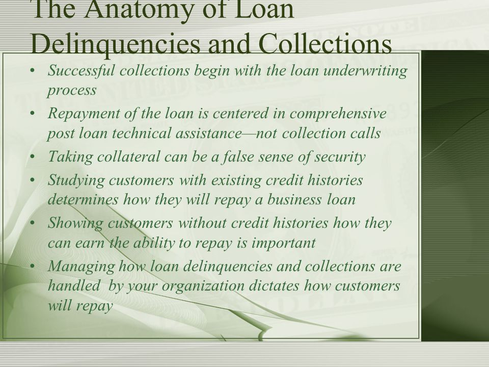 The Anatomy of Loan Delinquencies and Collections Successful collections begin with the loan underwriting process Repayment of the loan is centered in comprehensive post loan technical assistance—not collection calls Taking collateral can be a false sense of security Studying customers with existing credit histories determines how they will repay a business loan Showing customers without credit histories how they can earn the ability to repay is important Managing how loan delinquencies and collections are handled by your organization dictates how customers will repay