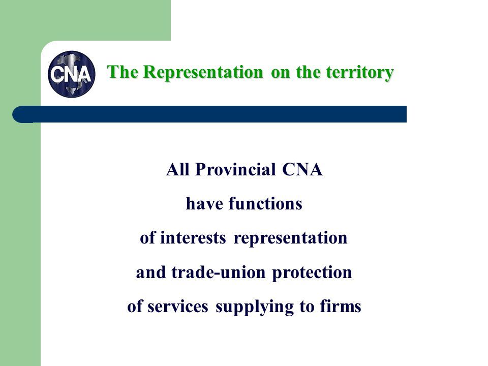 All Provincial CNA have functions of interests representation and trade-union protection of services supplying to firms The Representation on the territory
