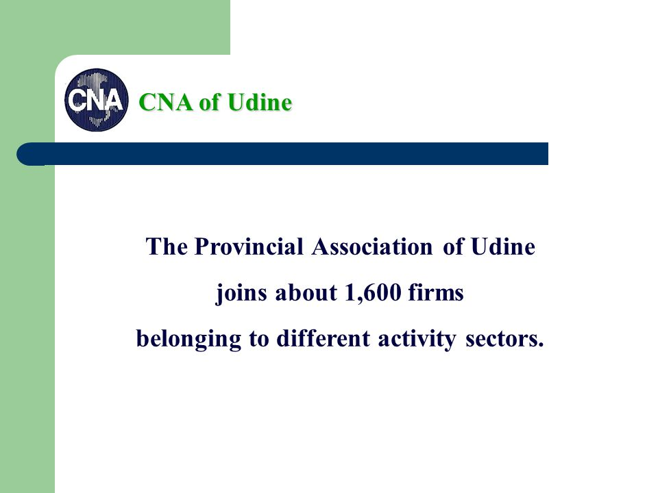 The Provincial Association of Udine joins about 1,600 firms belonging to different activity sectors.