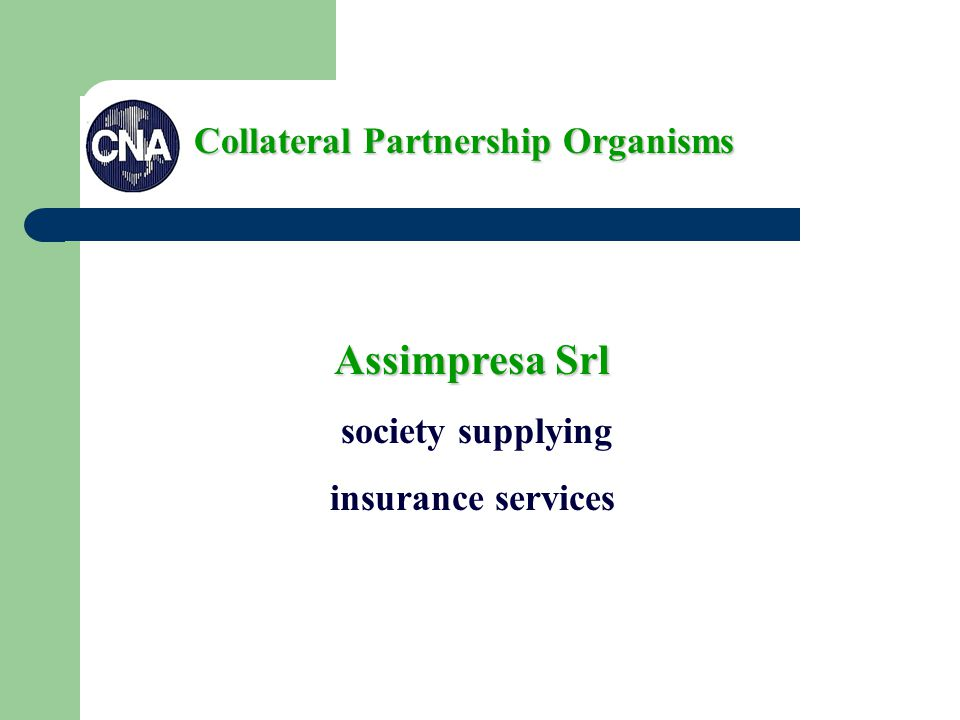 Assimpresa Srl society supplying insurance services Collateral Partnership Organisms