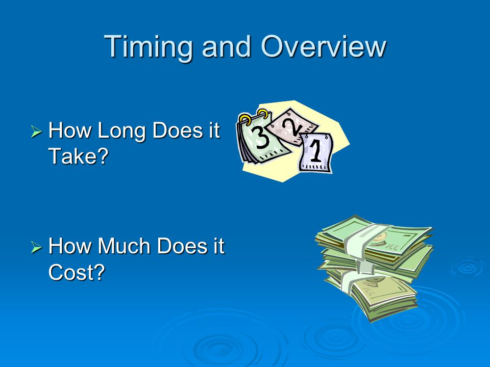 Timing and Overview  How Long Does it Take?  How Much Does it Cost?
