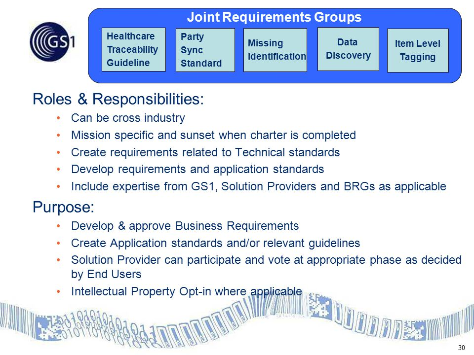 30 Joint Requirements Groups Healthcare Traceability Guideline Party Sync Standard Missing Identification Data Discovery Roles & Responsibilities: Can be cross industry Mission specific and sunset when charter is completed Create requirements related to Technical standards Develop requirements and application standards Include expertise from GS1, Solution Providers and BRGs as applicable Purpose: Develop & approve Business Requirements Create Application standards and/or relevant guidelines Solution Provider can participate and vote at appropriate phase as decided by End Users Intellectual Property Opt-in where applicable Item Level Tagging