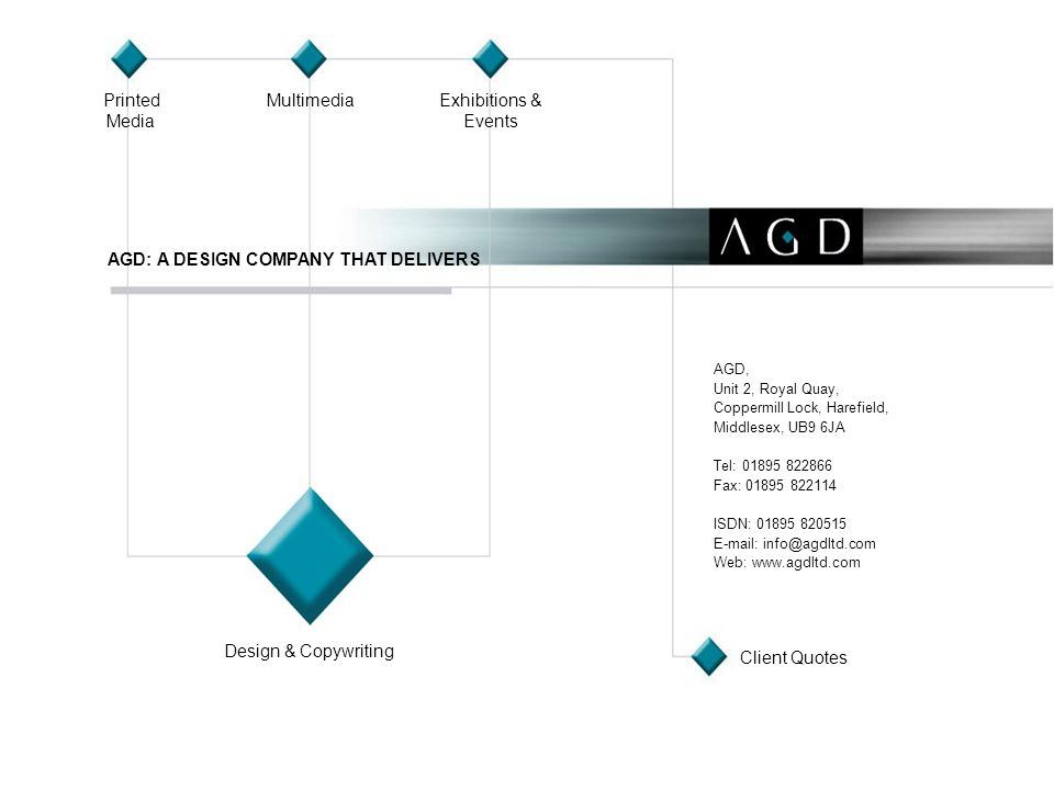 Printed Media MultimediaExhibitions & Events Design & Copywriting AGD: A DESIGN COMPANY THAT DELIVERS AGD, Unit 2, Royal Quay, Coppermill Lock, Harefi