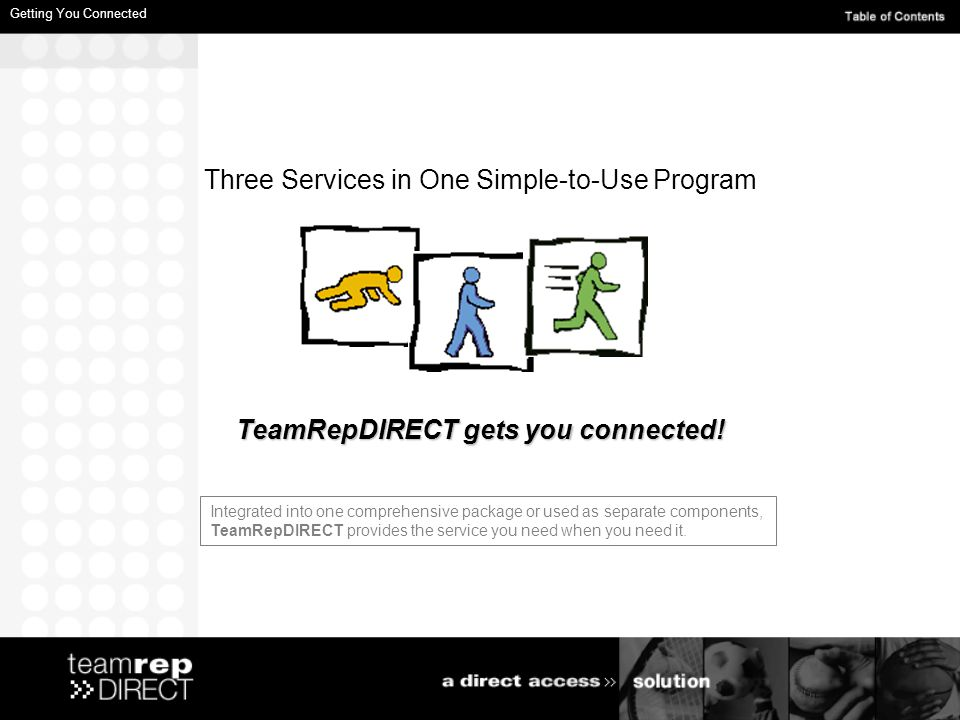 Three Services in One Simple-to-Use Program TeamRepDIRECT gets you connected.