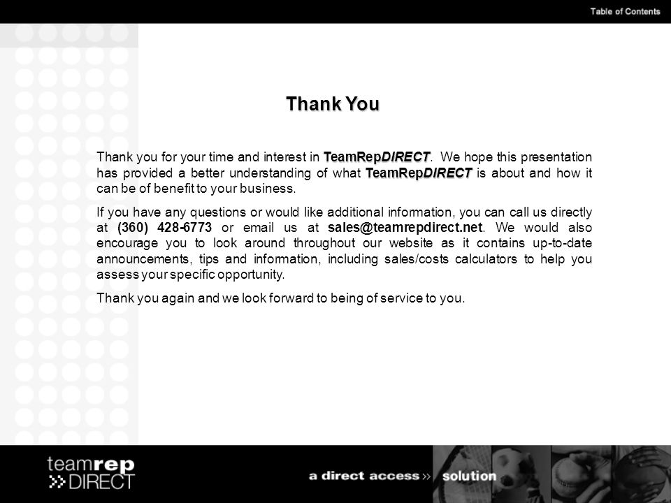 TeamRepDIRECT TeamRepDIRECT Thank you for your time and interest in TeamRepDIRECT.