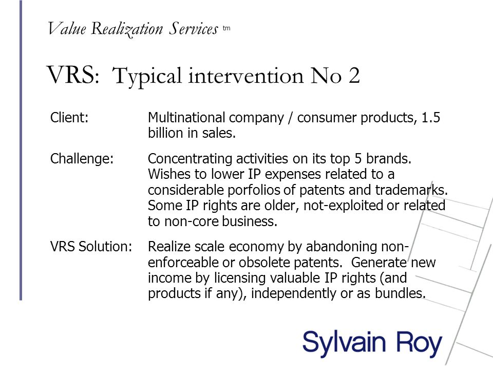 VRS : Typical intervention No 2 Client: Multinational company / consumer products, 1.5 billion in sales.
