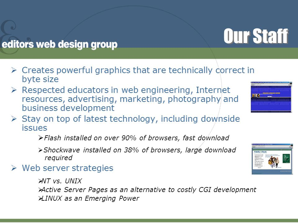 Our Company  Launching sites onto the Web since 1995 (virtually the commercial length of the Web)  Over 300 corporate sites launched  All graphics custom, mirroring a client's corporate / marketing communications look  Over 40 man years of IT experience building business solutions through systems architecture and robust database development  Launching sites onto the Web since 1995 (virtually the commercial length of the Web)  Over 300 corporate sites launched  All graphics custom, mirroring a client's corporate / marketing communications look  Over 40 man years of IT experience building business solutions through systems architecture and robust database development  Business-To-Business  Consumer  Retail  High Tech & Software  Manufacturing  Financial & Insurance Services…  16 primary vertical markets served