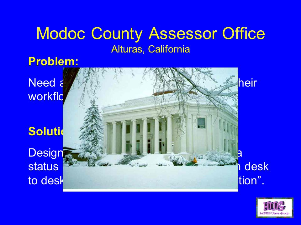 Modoc County Assessor Office Alturas, California Problem: Need an imaging system that can meet their workflow needs.