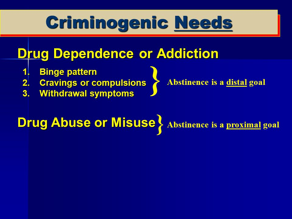 Criminogenic Needs Drug Dependence or Addiction Drug Dependence or Addiction 1.Binge pattern 2.Cravings or compulsions 3.Withdrawal symptoms Drug Abus