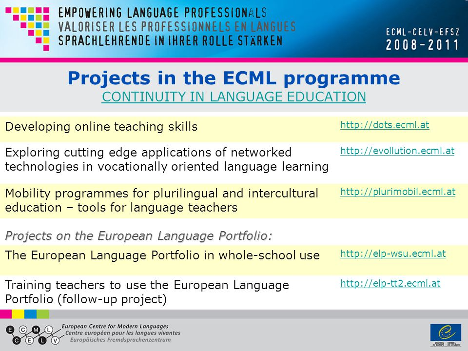Projects in the ECML programme CONTINUITY IN LANGUAGE EDUCATION CONTINUITY IN LANGUAGE EDUCATION Developing online teaching skills http://dots.ecml.at
