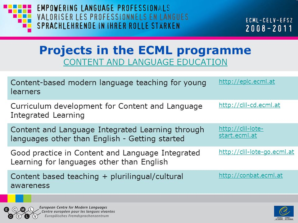 Projects in the ECML programme CONTENT AND LANGUAGE EDUCATION CONTENT AND LANGUAGE EDUCATION Content-based modern language teaching for young learners