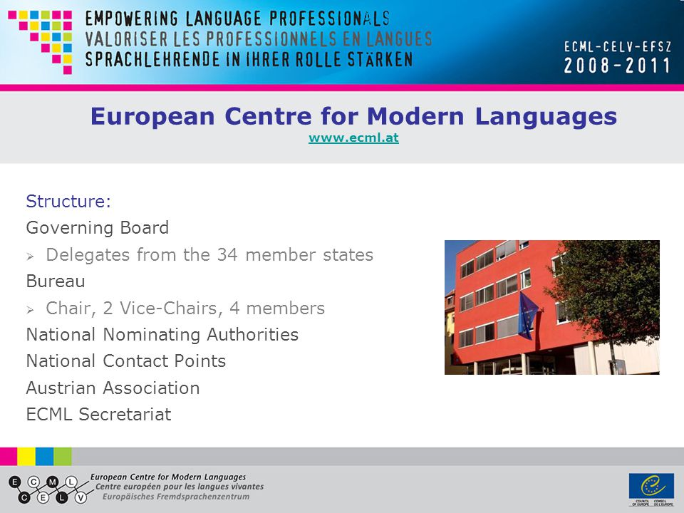 European Centre for Modern Languages www.ecml.at www.ecml.at Structure: Governing Board  Delegates from the 34 member states Bureau  Chair, 2 Vice-Chairs, 4 members National Nominating Authorities National Contact Points Austrian Association ECML Secretariat