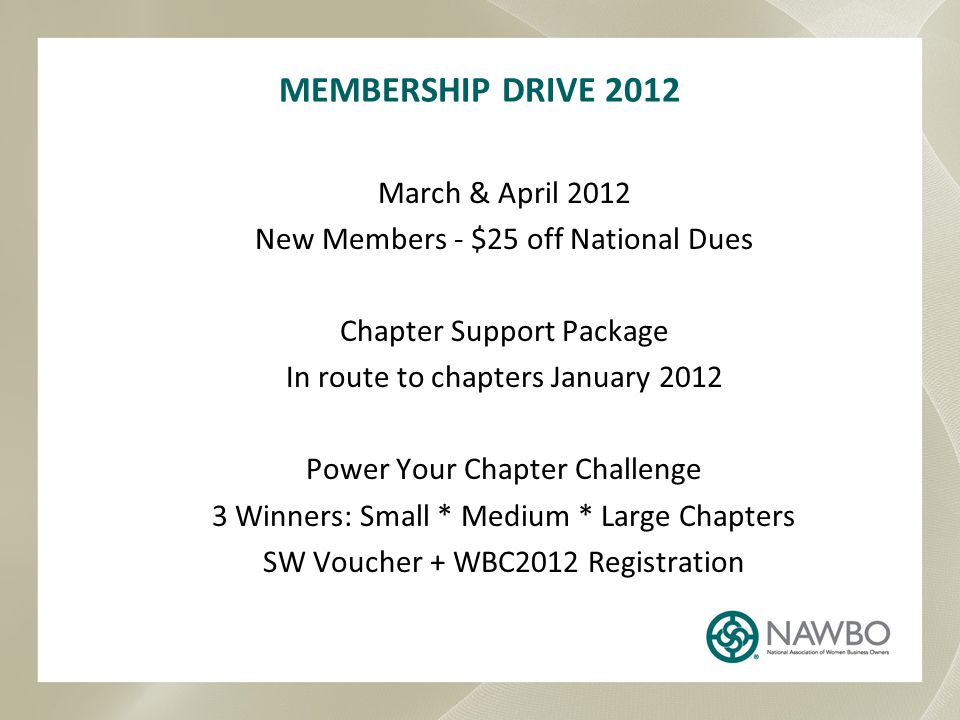 MEMBERSHIP DRIVE 2012 March & April 2012 New Members - $25 off National Dues Chapter Support Package In route to chapters January 2012 Power Your Chapter Challenge 3 Winners: Small * Medium * Large Chapters SW Voucher + WBC2012 Registration