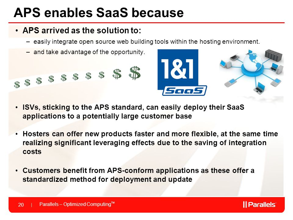 Parallels – Optimized Computing TM 20 APS enables SaaS because APS arrived as the solution to: –easily integrate open source web building tools within the hosting environment.