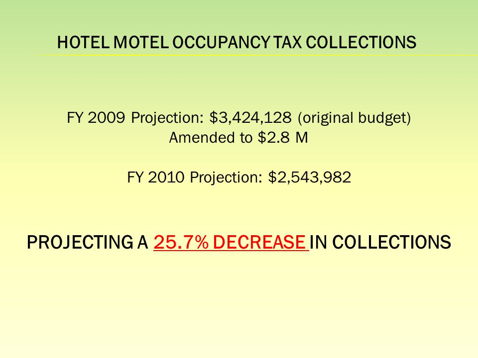 FY 2009 Projection: $3,424,128 (original budget) Amended to $2.8 M FY 2010 Projection: $2,543,982 PROJECTING A 25.7% DECREASE IN COLLECTIONS HOTEL MOTEL OCCUPANCY TAX COLLECTIONS