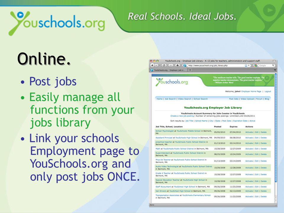 Create school profiles Post Pictures Post Videos
