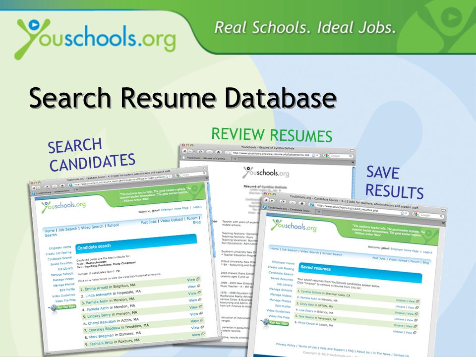 Search Resume Database SEARCH CANDIDATES REVIEW RESUMES SAVE RESULTS