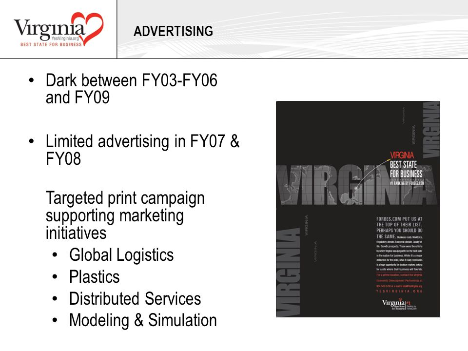 Dark between FY03-FY06 and FY09 Limited advertising in FY07 & FY08 Targeted print campaign supporting marketing initiatives Global Logistics Plastics