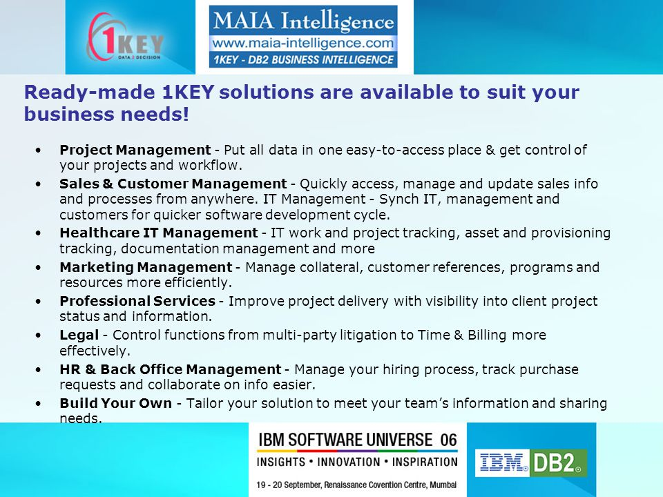 Ready-made 1KEY solutions are available to suit your business needs.